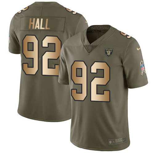 Nike Raiders #92 P.J. Hall Olive/Gold Men's Stitched NFL Limited Salute To Service Jersey