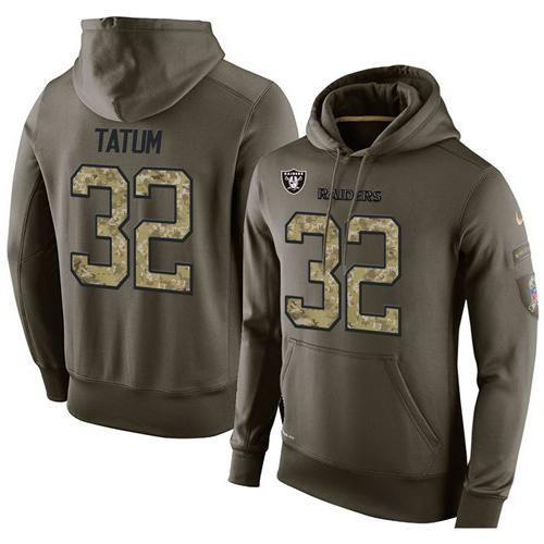 NFL Men's Nike Oakland Raiders #32 Jack Tatum Stitched Green Olive Salute To Service KO Performance Hoodie