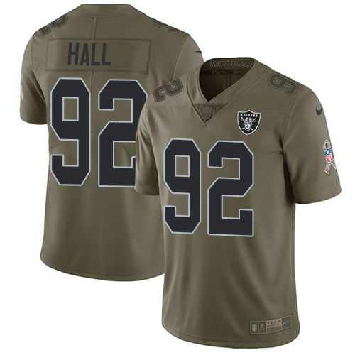 Nike Raiders #92 P.J. Hall Olive Men's Stitched NFL Limited Salute To Service Jersey