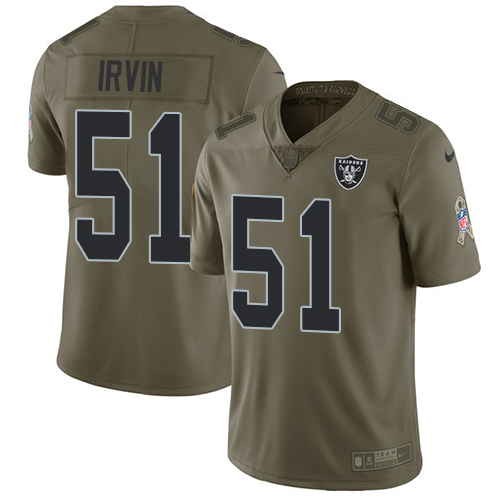 Nike Raiders #51 Bruce Irvin Olive Men's Stitched NFL Limited Salute To Service Jersey