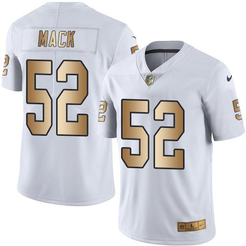 Nike Raiders #52 Khalil Mack White Men's Stitched NFL Limited Gold Rush Jersey
