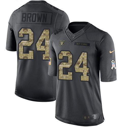 Nike Raiders #24 Willie Brown Black Men's Stitched NFL Limited 2016 Salute To Service Jersey