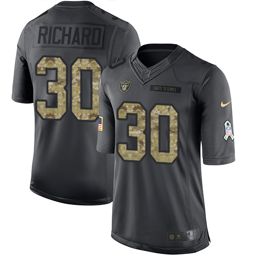 Nike Raiders #30 Jalen Richard Black Men's Stitched NFL Limited 2016 Salute To Service Jersey