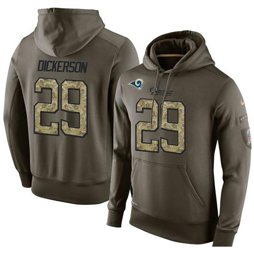 NFL Men's Nike Los Angeles Rams #29 Eric Dickerson Stitched Green Olive Salute To Service KO Performance Hoodie
