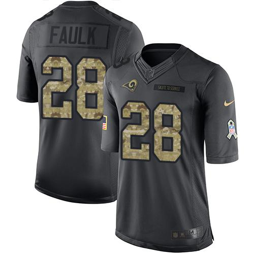 Nike Rams #28 Marshall Faulk Black Men's Stitched NFL Limited 2016 Salute to Service Jersey