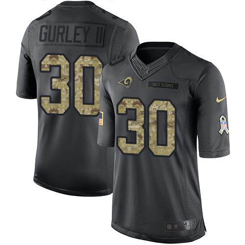 Nike Rams #30 Todd Gurley II Black Men's Stitched NFL Limited 2016 Salute to Service Jersey