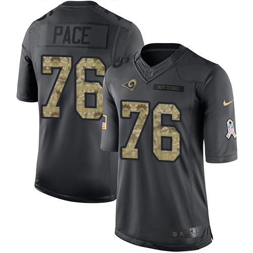 Nike Rams #76 Orlando Pace Black Men's Stitched NFL Limited 2016 Salute to Service Jersey