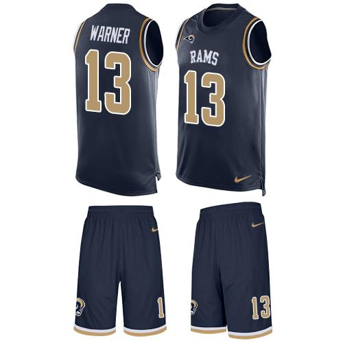 Nike Rams #13 Kurt Warner Navy Blue Team Color Men's Stitched NFL Limited Tank Top Suit Jersey