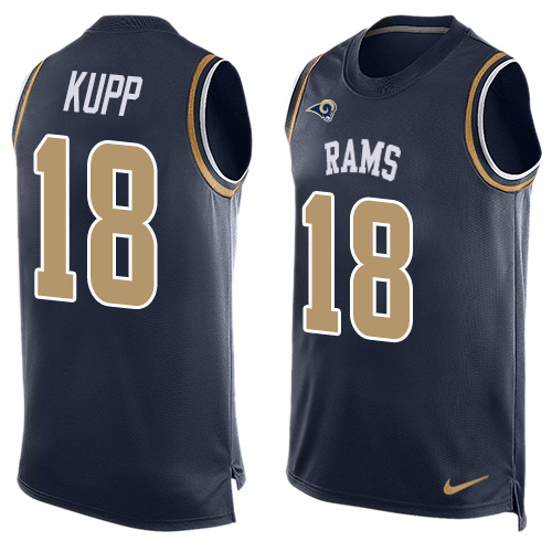 Nike Rams #18 Cooper Kupp Navy Blue Team Color Men's Stitched NFL Limited Tank Top Jersey