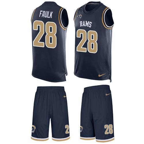 Nike Rams #28 Marshall Faulk Navy Blue Team Color Men's Stitched NFL Limited Tank Top Suit Jersey