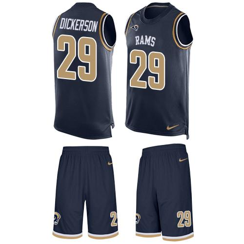 Nike Rams #29 Eric Dickerson Navy Blue Team Color Men's Stitched NFL Limited Tank Top Suit Jersey
