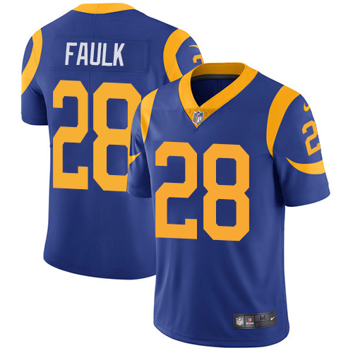 Nike Rams #28 Marshall Faulk Royal Blue Alternate Men's Stitched NFL Vapor Untouchable Limited Jersey