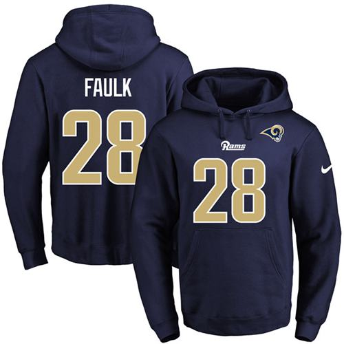 Nike Rams #28 Marshall Faulk Navy Blue Name & Number Pullover NFL Hoodie