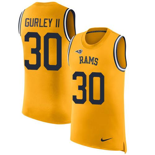 Nike Rams #30 Todd Gurley II Gold Men's Stitched NFL Limited Rush Tank Top Jersey