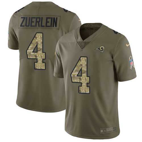 Nike Rams #4 Greg Zuerlein Olive/Camo Men's Stitched NFL Limited Salute To Service Jersey