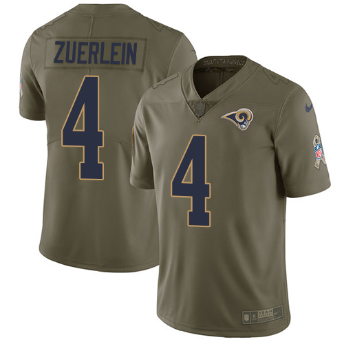 Nike Rams #4 Greg Zuerlein Olive Men's Stitched NFL Limited Salute To Service Jersey