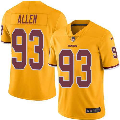 Nike Redskins #93 Jonathan Allen Gold Men's Stitched NFL Limited Rush Jersey