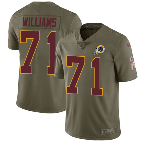 Nike Redskins #71 Trent Williams Olive Men's Stitched NFL Limited Salute to Service Jersey