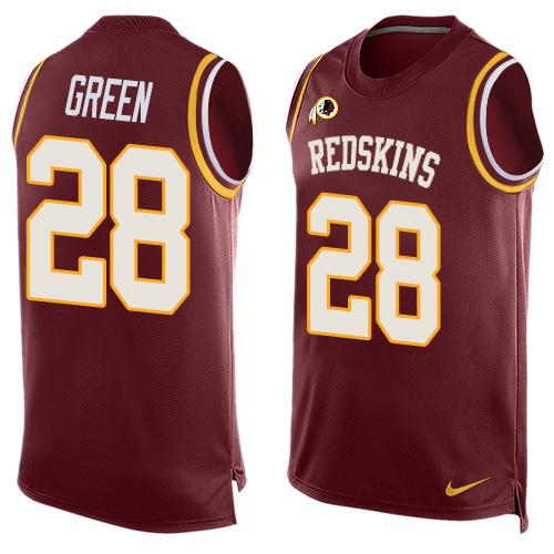 Nike Redskins #28 Darrell Green Burgundy Red Team Color Men's Stitched NFL Limited Tank Top Jersey