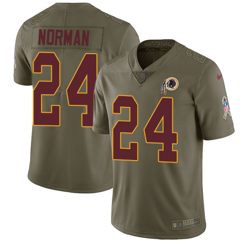 Nike Redskins #24 Josh Norman Olive Men's Stitched NFL Limited Salute to Service Jersey