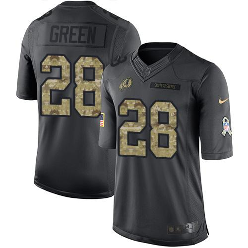 Nike Redskins #28 Darrell Green Black Men's Stitched NFL Limited 2016 Salute to Service Jersey