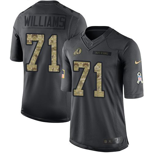 Nike Redskins #71 Trent Williams Black Men's Stitched NFL Limited 2016 Salute to Service Jersey