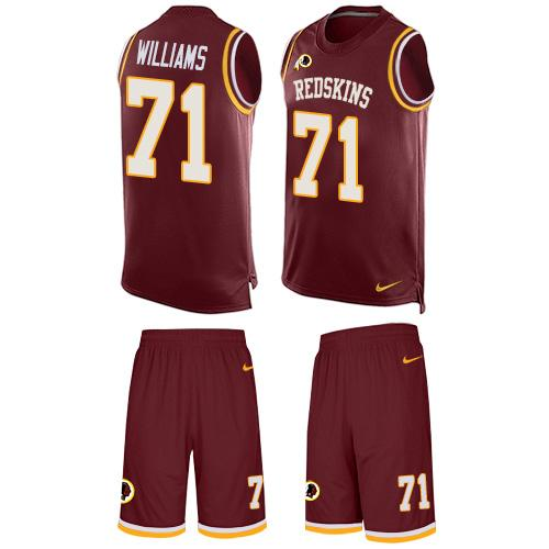 Nike Redskins #71 Trent Williams Burgundy Red Team Color Men's Stitched NFL Limited Tank Top Suit Jersey