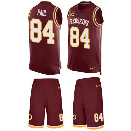 Nike Redskins #84 Niles Paul Burgundy Red Team Color Men's Stitched NFL Limited Tank Top Suit Jersey