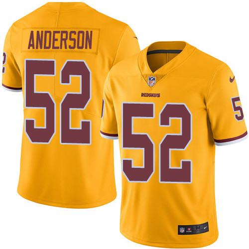 Nike Redskins #52 Ryan Anderson Gold Men's Stitched NFL Limited Rush Jersey