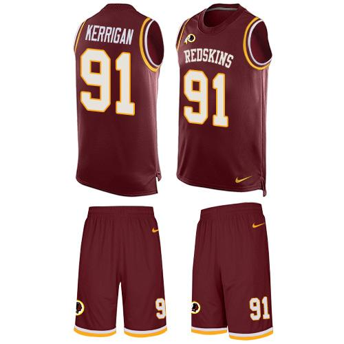 Nike Redskins #91 Ryan Kerrigan Burgundy Red Team Color Men's Stitched NFL Limited Tank Top Suit Jersey