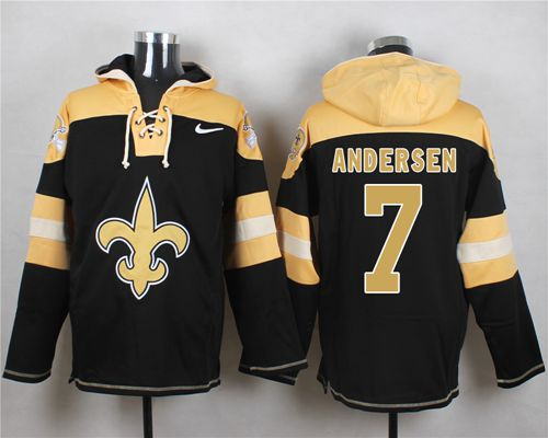Nike Saints #7 Morten Andersen Black Player Pullover NFL Hoodie