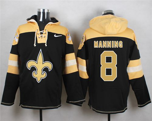 Nike Saints #8 Archie Manning Black Player Pullover NFL Hoodie