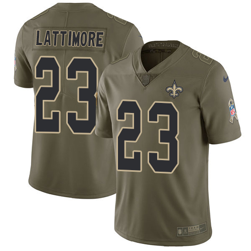 Nike Saints #23 Marshon Lattimore Olive Men's Stitched NFL Limited Salute To Service Jersey