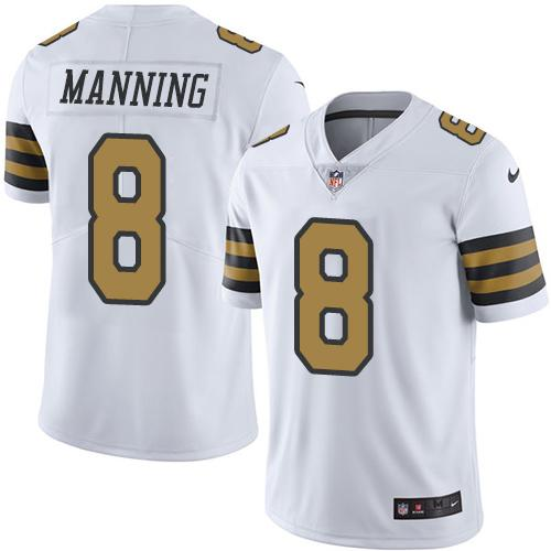 Nike Saints #8 Archie Manning White Men's Stitched NFL Limited Rush Jersey