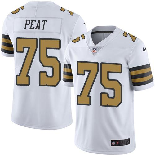 Nike Saints #75 Andrus Peat White Men's Stitched NFL Limited Rush Jersey