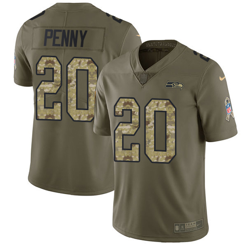 Nike Seahawks #20 Rashaad Penny Olive/Camo Men's Stitched NFL Limited Salute To Service Jersey