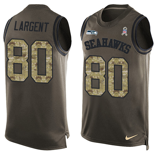 Nike Seahawks #80 Steve Largent Green Men's Stitched NFL Limited Salute To Service Tank Top Jersey