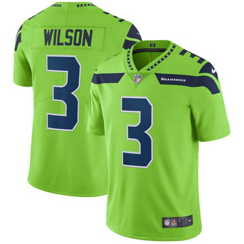 Nike Seahawks #3 Russell Wilson Green Men's Stitched NFL Limited Rush Jersey