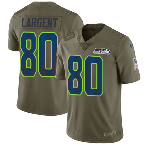 Nike Seahawks #80 Steve Largent Olive Men's Stitched NFL Limited Salute to Service Jersey