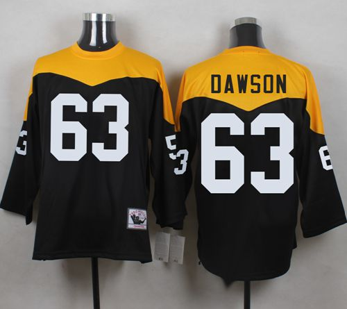 Mitchell And Ness 1967 Steelers #63 Dermontti Dawson Black/Yelllow Throwback Men's Stitched NFL Jersey
