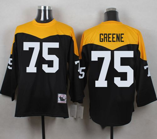 Mitchell And Ness 1967 Steelers #75 Joe Greene Black/Yelllow Throwback Men's Stitched NFL Jersey