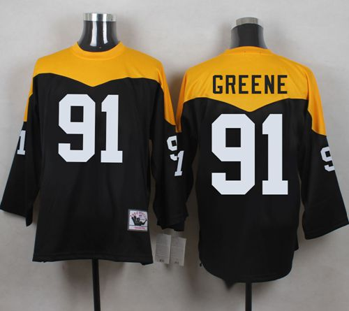 Mitchell And Ness 1967 Steelers #91 Kevin Greene Black/Yelllow Throwback Men's Stitched NFL Jersey