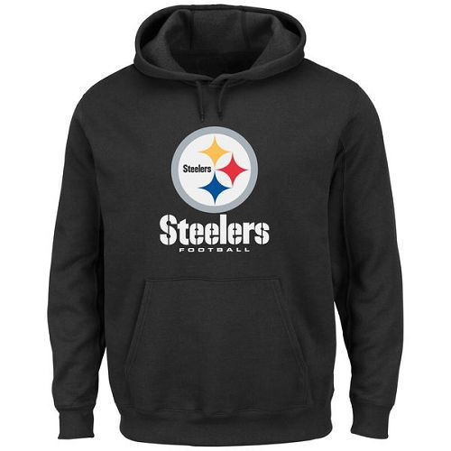 Men's Pittsburgh Steelers Black Critical Victory Pullover Hoodie