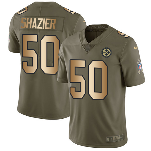 Nike Steelers #50 Ryan Shazier Olive/Gold Men's Stitched NFL Limited Salute To Service Jersey