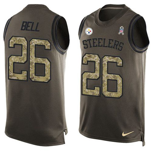 Nike Steelers #26 Le'Veon Bell Green Men's Stitched NFL Limited Salute To Service Tank Top Jersey