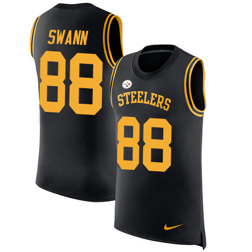 Nike Steelers #88 Lynn Swann Black Team Color Men's Stitched NFL Limited Rush Tank Top Jersey