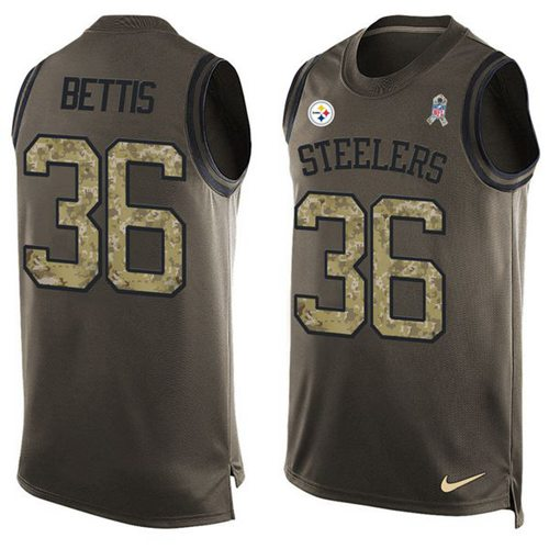 Nike Steelers #36 Jerome Bettis Green Men's Stitched NFL Limited Salute To Service Tank Top Jersey