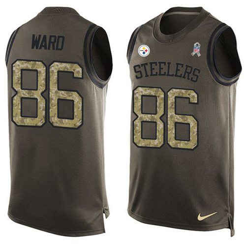 Nike Steelers #86 Hines Ward Green Men's Stitched NFL Limited Salute To Service Tank Top Jersey