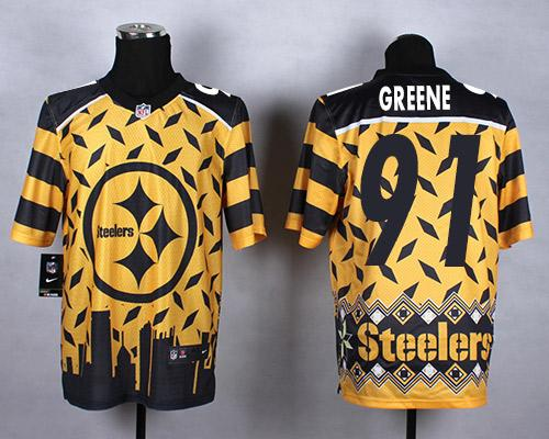 Nike Steelers #91 Kevin Greene Gold Men's Stitched NFL Elite Noble Fashion Jersey
