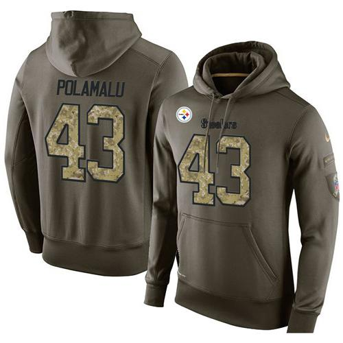 NFL Men's Nike Pittsburgh Steelers #43 Troy Polamalu Stitched Green Olive Salute To Service KO Performance Hoodie
